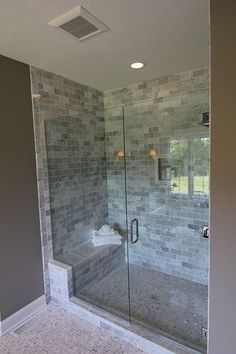 large walk in shower, downstairs bathroom remodel
