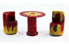 Puppen - Sitzgruppe Esstisch Stühle Feuer-Design