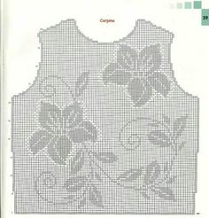 Filet Crochet, Crochet Stitches Chart, Thread Crochet, Crochet Granny, Crochet Tank Tops, Crochet Blouse, Dress Sewing Patterns, Knitting Patterns, Crochet Patterns
