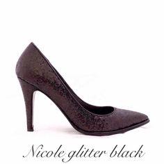 Nicole glitter black colección NIKKA inv 2014 #nikka #nicoleneumann #nicole #glitter #black #fashion #shopping #shoes #crueltyfree