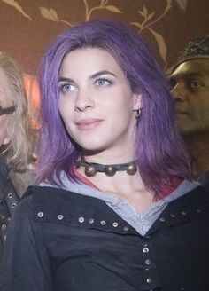 Natalia Tena from Game of Thrones rocking out the purple hair, well played!