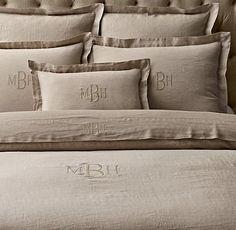 monogram duvet cover | Vintage-Washed Belgian Linen Duvet Cover
