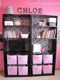 """bookcase upcycle - beautiful result used """"zebra print wrapping paper and double sided tape"""""""