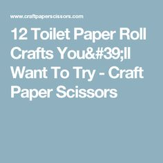 12 Toilet Paper Roll Crafts You'll Want To Try - Craft Paper Scissors