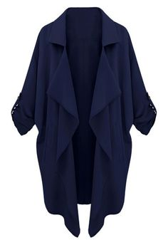 Sleeves Tab Draped Lapel Blazer - Navy