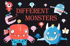 Funny colorful monsters by Tanor on @creativemarket