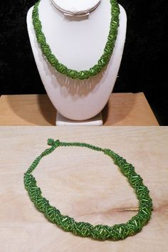"""This item is preowned Tone Green Beaded Strand Ladies Fashion Necklace 18"""" Vey new like condition $4.00 Visit http://www.mccoinandjewelry.com/Preowned-Necklaces.html"""