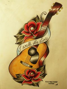 """Johnny Cash tattoo -- guitar, rose, """"I walk the line""""---Nice, could either go with Johnny for Dad or Elvis for Nan"""