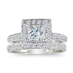 Pave Princess Diamond Bridal Set in White Gold, Ring Size 4 With Free Blitz Jewelry Cleaner - One of the most elegant and beautiful styles of engagement rings and bridal sets, is the Micro Pave style. The center piece of the ring is, of cou Engagement Ring Guide, Princess Cut Engagement Rings, Vintage Engagement Rings, Engagement Ideas, Engagement Jewelry, Wedding Ring Finger, Diamond Wedding Rings, Diamond Engagement Rings, Diamond Rings