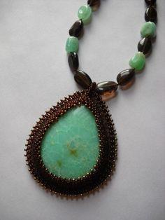 Chrysoprase Gemstone Beaded Pendant/Necklace with Smoky Quartz