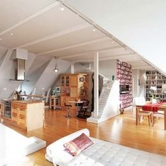Bright Attic Penthouse with Spectacular Views, Stockholm, Sweden. #dwellinggawker
