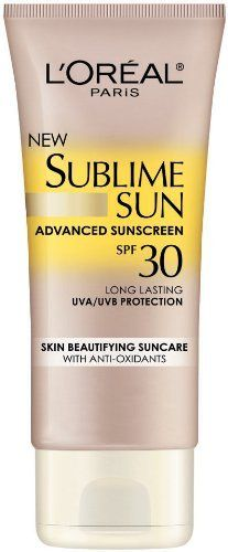 L'Oreal Sublime Sun Body Lotion SPF 30, 3 Fluid Ounce by L'Oreal Paris. $7.97. Ultra-lightweight lotion is instantly absorbed with no greasy residue-leaving skin silky soft. Ultra water resistant; Ultra sweat resistant. Oil free; Non-pore clogging. Introducing new advanced broad-spectrum suncare protection infused with skin-improving care. Protect skin with patented long-lasting UVA/UVB protection. Beautify skin with multi-action anti-oxidants-vitamin E and white grapeseed-...