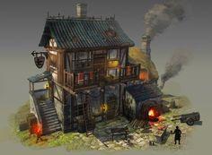 blacksmith& workshop (medieval) by taehoon kang on ArtStation. Casa Medieval Minecraft, Medieval Houses, Minecraft Houses, Fantasy Town, Fantasy House, Medieval Fantasy, Building Concept, Building Art, Blacksmith Workshop