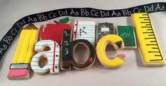 Back to school, sugar art, decorated cookies, pencil, ruler