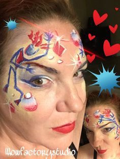 Red white and blue dancing figures face paint