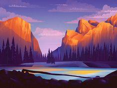 Yosemite by Zak Steele-Eklund Mountain Illustration, Nature Illustration, Landscape Illustration, Graphic Design Illustration, Graphic Art, Animal Illustrations, Fantasy Illustration, Illustrations Posters, Landscape Edging