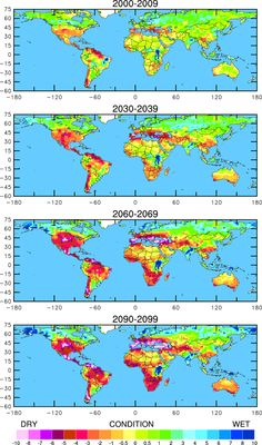 Global map showing projected drought risk, by region, based on current projections of greenhouse gas emissions