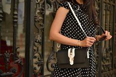 BLACK AND WHITE_Katharine-fashion is beautiful_Katarína Jakubčová_Polka dots_Fashion blogger fashionisbeautiful #chic #skirt #inspiration #dots #polka #trend #summer #black&white