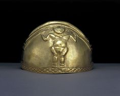 Hammered and embossed gold helmet     Quimbaya, AD 600-1100  Colombia, South America