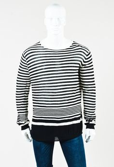 Haider Ackermann Men's Black & White Cotton Cashmere Striped Shirt