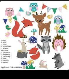 Kids Wall Decals -- Forest Wall Decals 3 Owls 4 Birds 2 Foxes 5 Mushrooms 2 Bunnies 4 Grasses 2 Flag Pieces 2 Hedgehogs 1 Tree Stump 1 Deer 1 Raccoon 1 Squirrel { Choose Color } * choose your colors from the color chart Please leave message with your color choices in the message