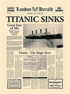 London Newspaper 1912 reports the sinking of the Titanic and the loss of the Crawley heir.