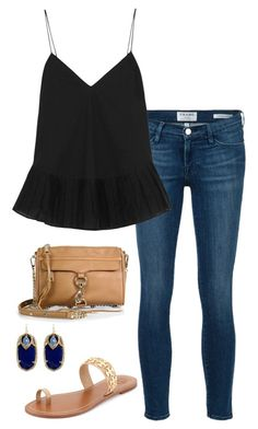 """black top"" by kcunningham1 ❤ liked on Polyvore featuring moda, Frame Denim, J.Crew, Rebecca Minkoff, Kendra Scott e Tory Burch"