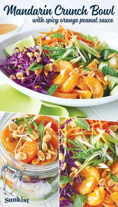 MandarinCrunch Bowl with Spicy Orange Peanut Sauce Mandarine Recipes, Clementine Recipes, Mandarin Salad, Salad Recipes, Healthy Recipes, Peanut Dressing, Vegetable Casserole, Orange Salad, Carrot Salad