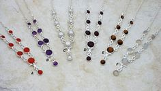 """Solid sterling silver and gold vermeil (100 millionths of an inch/industry standard of 24kt. gold heavy electroplate on solid sterling silver) natural gemstone and fresh water pearl necklaces. Necklaces are adjustable length between approx. 15.5"""" - 17""""/39cm-43cm. Simple, elegant, affordable gemstone necklaces These necklaces are good for those who prefer something rather small and delicate as well as for young people and children. #necklace #gemstone #simple #elegant"""