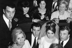 April 965 - Reggie Kray with his beautiful new bride in the centre, Ronnie resting a hand on his sister in law Dolly Kray, (was married to Charlie at the time) and the boys mother, Violet, in the top right corner. David Bailey Photography, The Krays, Gangster S, East End London, History Of Photography, Sister In Law, All I Ever Wanted, Twin Brothers, Double Trouble