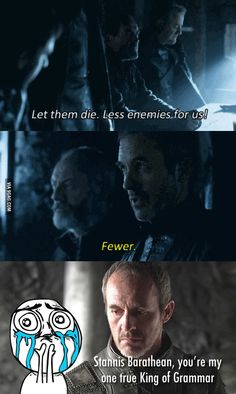 Stannis Baratheon: King of Westeros, lord of grammar