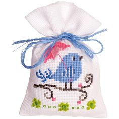 """Blue Bird Bag On Aida Counted Cross Stitch Kit-3.25""""X4.75"""" 18 Count"""