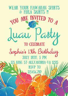 Convite de aniversario Personalizado Hawaii by AlapipetuaDesign