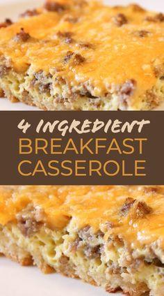 Easy Breakfast Casserole Recipes, Overnight Breakfast Casserole, Breakfast Casserole Sausage, Best Breakfast Recipes, Breakfast Bake, Breakfast Dishes, Brunch Casserole, Egg Bake Casserole, Overnight Egg Bake