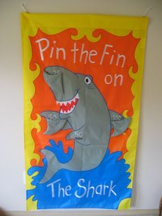 Celebration Game Banner Party Game. Pin the Fin on the Shark for Kids