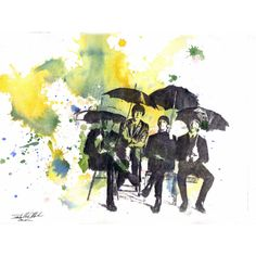 The Beatles Art Print From an Original Watercolor Painting 17 x 22 in... (86 AUD) ❤ liked on Polyvore featuring home, home decor, wall art, watercolour painting, water color painting, watercolor wall art, music wall art and watercolor painting