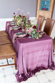 Wildly Opulent: A Romantic Shoot at Bridwell - McKenzie-Brown Photography Purple Wedding Tables, Wedding Colors, Floral Design, Burgundy, Blush, Romantic, Table Decorations, Bridal, Brown