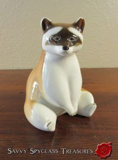 Vintage Russian Imperial Porcelain Factory Lomonosov Raccoon Figurine #Lomonosov