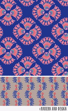 A modern floral pattern design inspired by traditional motifs. Surface pattern design by Pattern and Design from the Jaipur Collection Motif Design, Surface Pattern Design, Textile Design, Print Design, Pattern Design Drawing, Art Print, Textile Patterns, Print Patterns, Pattern Designs