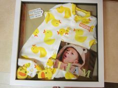 Really easy shadow box I made with one of Liam's newborn onesies!  I thought it would be a great gift for his Mimi.  Now I need one for me and for Grandma Cookie!