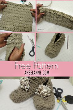Diy Crafts - Crochet slippers are easy to create for the beginner crochet project. Using a basic crochet stitch and Bernat Blanket Yarn for cozy croch Easy Crochet Slippers, Crochet Slipper Pattern, Crochet Baby Shoes, Crochet Clothes, Crochet Patterns, Crocheted Slippers, Booties Crochet, Baby Booties, Beginner Crochet Projects