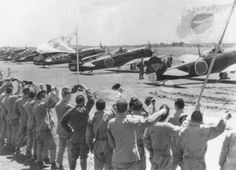 The Nakajima Ki-84-Is of the 75th Shinbu tai at Shimodate airfield on 17 May 1945. 10 of them were used for kamikaze attack on Allied ships west of Okinawa Island on 25 May Photo : Imperial Japanese Army