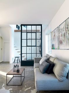 Interior windows as room divider My Living Room, Home And Living, Living Spaces, Living Area, Clean Living, Living Room Inspiration, Interior Inspiration, Interior Windows, Deco Design