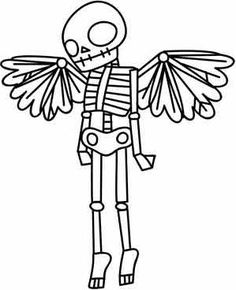 A cute, spooky winged skeleton in a primitive style. Use pattern transfer paper to trace design for hand-stitching. Skull Coloring Pages, Colouring Pages, Coloring Books, Paper Embroidery, Cross Stitch Embroidery, Embroidery Patterns, Doily Patterns, Dress Patterns, Adornos Halloween