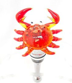 Red Spotted Glass Crab Wine Stopper. $26.99