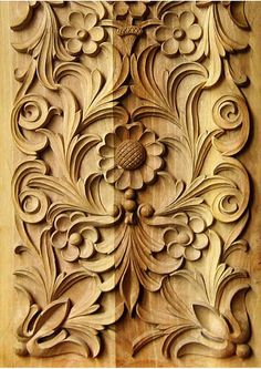 carved flowers and floral patterns #woodcarving