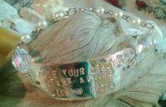 """hide your crazy & start acting like a lady"" silver plated, swarovski crystal ovals & pearl bracelet. True southern girl style. $30  https://www.facebook.com/jessasjewels"