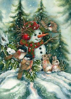 Christmas Scenes, Vintage Christmas Cards, Christmas Snowman, Winter Christmas, Christmas Crafts, Christmas Decorations, Christmas Ornaments, Merry Christmas, Xmas Holidays