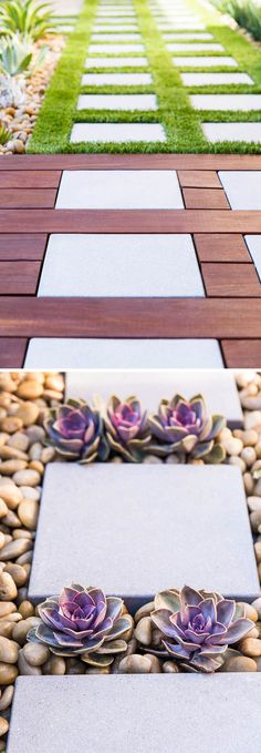 8 Elements To Include When Designing Your Zen Garden // Variados materiais compondo os Pavers -- Include pavers in your design to allow you the pleasure of wandering through your garden without trampling your plants.