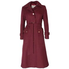 Burgundy Wool Coat by Aquascutum | From a collection of rare vintage coats and outerwear at https://www.1stdibs.com/fashion/clothing/coats-outerwear/